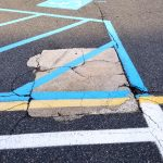 photo of blue painted lines in a parking lot