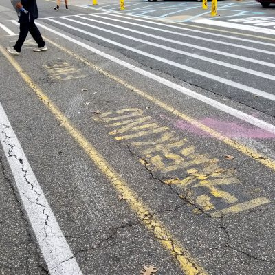 photo of fire parking lane in need of replacement in parking lot
