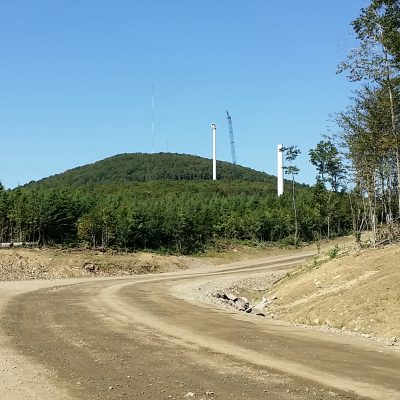 photo of turbines and crane at Passadumkeag Wind farm project