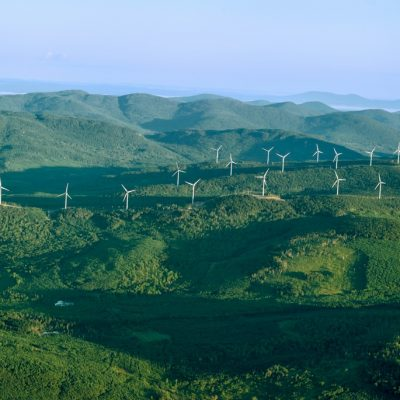 aerial photo of Kibby Wind Power Project turbines