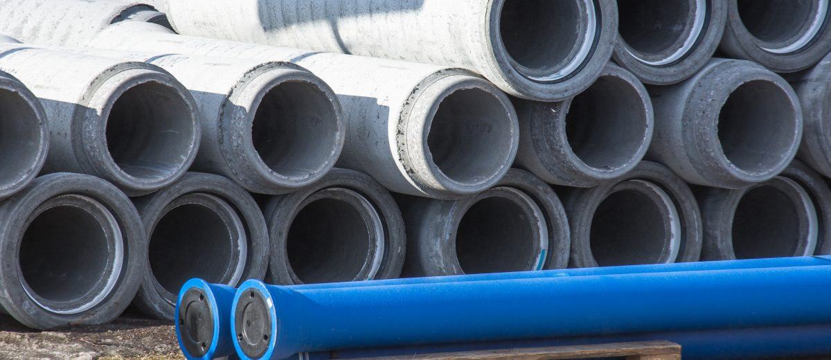 Concrete drainage sewer, gutters pipes for industrial building construction.